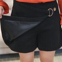 2017女装新款毛呢裤裙女秋冬季加肥加大码女装加厚假两件短裤高腰