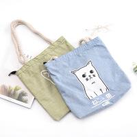 时尚麻绳购物袋创意可爱加厚帆布包女学生单肩手提包大容量斜挎包
