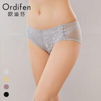 欧迪芬女士内裤Ordifen新品蕾丝性感拼接网纱中腰三角内裤XP7228