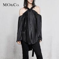 MOCO春季新品一字肩松紧带露肩V领上衣MA181TOP207 摩安珂