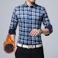 男士冬季加绒衬衫保暖格子长袖衬衫加绒加厚商务休闲加棉长袖衬衣