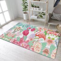 新中式简约客厅地毯茶几书房卧室床边垫飘窗毯满铺榻榻米定制 粉红色 火烈鸟3