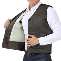 秋冬季中老年男装加绒加厚马甲男多口袋羊羔毛保暖背心爸爸装马夹
