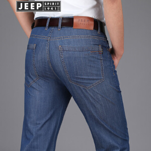 JEEP吉普春夏薄款牛仔裤男2018新款商务休闲直筒弹力牛仔长裤子
