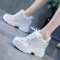 网面日常原宿风女鞋运动鞋子内增高小白鞋夏季透气白鞋