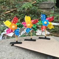 彩色塑料风车薄片小风车地推小礼品儿童玩具风车批发
