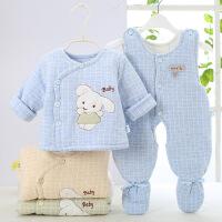 吉妮娃 男女宝婴儿棉衣套装 加厚冬装新生儿棉服0-3月尚服背带棉裤包脚