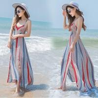 2018新款夏季新品女装无袖条纹吊带雪纺连衣裙长裙波西米亚海边度假沙滩裙 彩条 均码