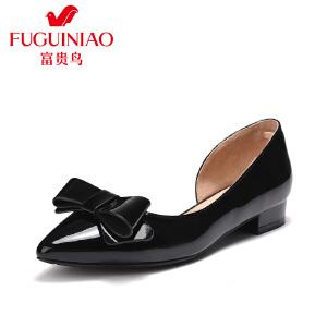 富贵鸟(FUGUINIAO)2017春季新款女鞋 浅口女鞋单鞋蝴蝶结鞋