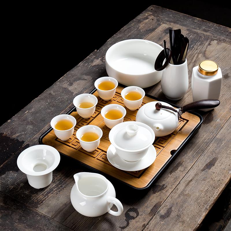 【品牌热卖】功夫茶具套装家用小简约手工羊脂玉瓷德化白瓷功夫茶具套装家用喝茶盖碗简约茶杯茶壶整套 15件玉瓷套组(花神杯)方竹盘黑