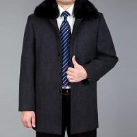 中老年男士冬季加绒加厚夹克羊毛呢大衣爸爸装翻领中长款羊毛外套 深灰色 格子款