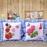 新款印花绣十字绣抱枕植物花草系列一对靠枕头蝶恋花情侣抱枕靠垫 含枕芯