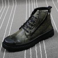 英伦男士马丁靴厚底系带工装皮靴时尚潮男军靴夏季透气韩版高帮鞋