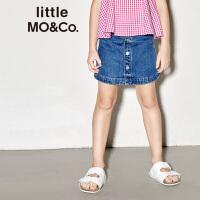 littlemoco夏季新品女童半身裙复古单排扣A字型全棉牛仔短裙裙子