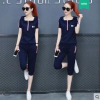 运动套装女 韩版大码显瘦新款学生休闲卫衣短袖七分裤修身两件套