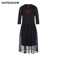 活动到手价134丨红袖复古气质网纱拼接t恤裙