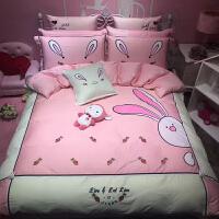 家纺儿童四件套女孩卡通刺绣贴布绣公主风粉色单人双人床品套件