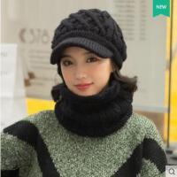 美观大方精致鸭舌针织加绒脖套骑车帽子女韩版潮学生百搭羊毛毛线帽