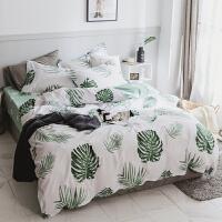 北欧绿色植物棉被套床单四件套春夏季1.5米棉床上用品1.8m床