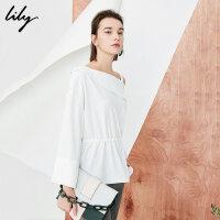 【2折到手价109.8元】全场叠加100元券 Lily春新款女装白色不对称露肩宽松喇叭袖套头衫118130C8607