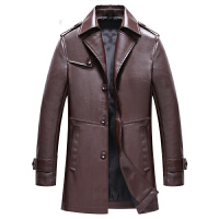 春秋新款男装皮衣男士皮夹克中年外套修身韩版PU皮商务休闲潮爸爸