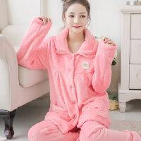 睡衣女加厚法兰绒套装家居服珊瑚绒长袖开衫韩版可爱大码 支持礼品卡支付