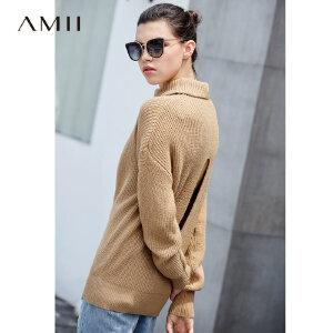 Amii极简甜美浪漫风镂空毛衣女2018秋新宽松高领套头露背上衣