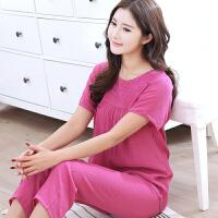 中年睡衣女夏纯棉长裤春秋套装棉麻棉绸大码情侣家居服可外穿 紫红色 8048