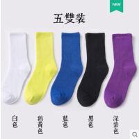 彩色袜子女中筒袜潮女士堆堆袜韩国糖果色纯棉薄款户外新品韩版袜