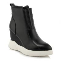 一件新款真皮尖头短靴坡跟防水台马丁靴侧拉链女靴