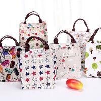 防水帆布手提保温包便当包饭盒袋日本装午餐带饭袋田园风