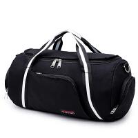 七夕礼物帆布包运动健身包男单肩包女圆筒手提旅行包行礼袋训练包 黑白色 大