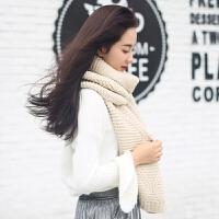 韩版女秋冬季原宿百搭 粉色学生针织纯色粗毛线围巾 冬天加厚保暖