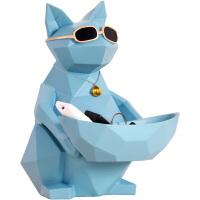 猫摆件家居饰品北欧式创意乔迁新居客厅摆设店铺开业礼物 蓝金收纳摆件大号 礼盒款