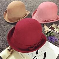 女童帽子秋天羊毛帽冬季小礼帽公主帽韩版潮马术帽儿童毛呢贝雷帽
