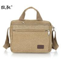 男包手提包横款商务单肩包帆布斜挎包休闲公文包9.7寸电脑包