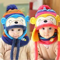 韩版秋冬季保暖加绒婴儿帽宝宝护耳帽冬天儿童毛线帽子围脖套装潮