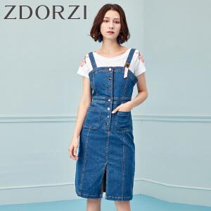 卓多姿ZDORZI吊带牛仔连衣裙女夏新品中长款收腰显瘦高腰开叉736E322