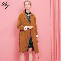 Lily春新款女装欧美长款风衣休闲腰带风衣117130C1201