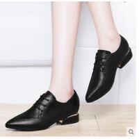 古奇天伦春季新款潮韩版尖头中跟单鞋小皮鞋英伦风女鞋子百搭SC08892