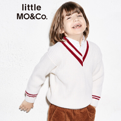 littlemoco男女童毛衣套头秋冬款纯羊毛不对称撞色条纹儿童毛衣 纯羊毛面料 撞色条纹