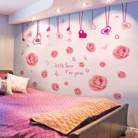 【品牌热卖】温馨浪漫玫瑰花墙贴纸卧室房间床头沙发客厅背景墙纸自粘装饰贴画 特大
