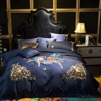 家纺欧式床上用品100支海岛棉纯棉四件套2.0刺绣被套