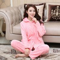 冬季珊瑚绒睡衣女加厚保暖法兰绒家居服女学生可爱粉色睡衣家居服