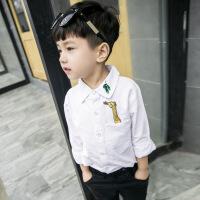 春秋童装韩版小孩儿童白衬衫纯棉牛津宝宝小童长袖衬衣男童上衣寸