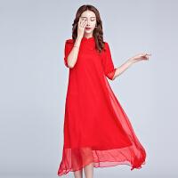 春夏品牌女装中国风改良旗袍裙民族红色连衣裙长裙