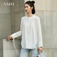 Amii极简欧货雪纺衫2018新春装女韩版宽松长袖中长款圆领白色上衣