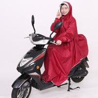 双帽檐单人雨衣电动车自行车雨衣摩托车雨衣加大加厚加长 酒红NJ38 带袖子款 X