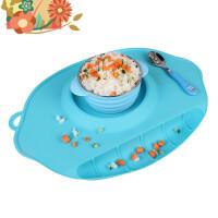 儿童餐垫一体防摔餐盘硅胶餐垫宝宝婴儿吸盘碗餐桌垫分格餐具便携h1k