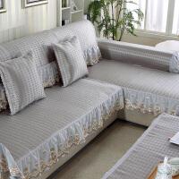 夏天沙发垫冰丝凉席藤席坐垫夏凉垫布艺防滑全包盖�f能套欧式客厅